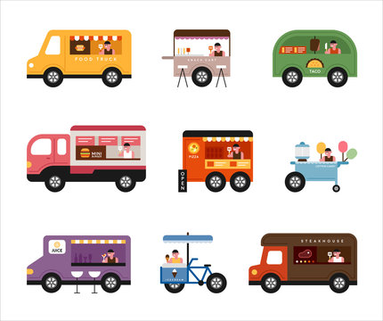 various type food truck set illustration. flat design vector graphic style.