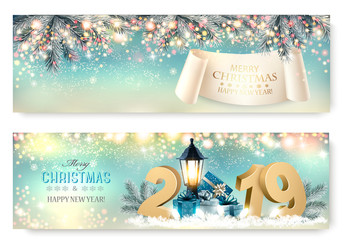 Abstract holiday christmas light banners. Vector illustration