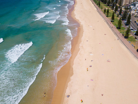 drone aerial of Manly beach, Sydney