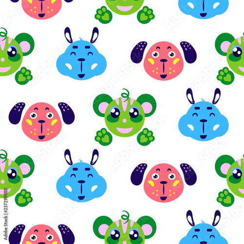 2ee6eda98a8f9 Funny animals cute smiling childish vector colorful seamless repeat  pattern. Cheerful funny alpaca, dog and monkey baby background for apparel  print and ...