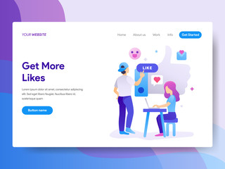 Landing page template of Get More Likes Concept. Modern flat design concept of web page design for website and mobile website.Vector illustration