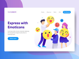 Landing page template of Using Emoticons Concept. Modern flat design concept of web page design for website and mobile website.Vector illustration
