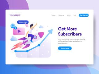 Landing page template of Get more Subscriber Concept. Modern flat design concept of web page design for website and mobile website.Vector illustration