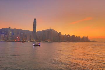 Victoria Harbor of Hong Kong at sunset