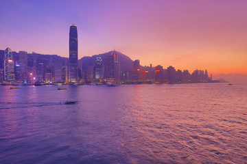 Victoria Harbor of Hong Kong at sunset