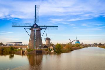 Windmills of kinderdijk in rotterdam