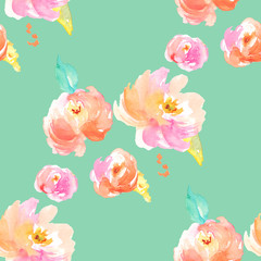 Watercolor Floral Pattern. Modern Floral Pattern for Textile Design with Peonies