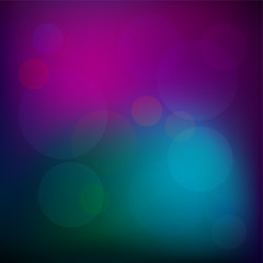Blurred bokeh background with dark neon magenta, blue and green colors, highlights, glow. vector eps 10