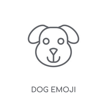 Dog emoji linear icon. Modern outline Dog emoji logo concept on white background from Emoji collection