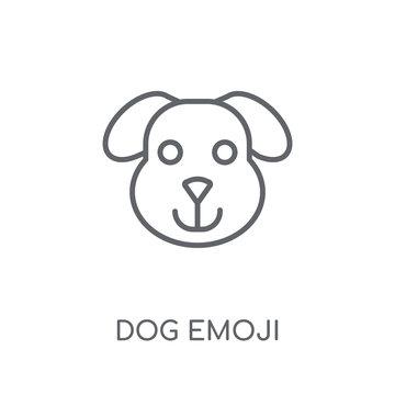 Dog emoji linear icon. Modern outline Dog emoji logo concept on white background from Emoji collection
