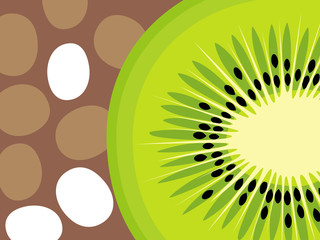 Abstract fruit design in flat cut out style. Kiwi Fruit. Vector illustration.
