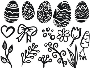 Easter eggs decorative silhouette illustration on white background. Happy Easter template with eggs, flowers and leaves. Vector illustration