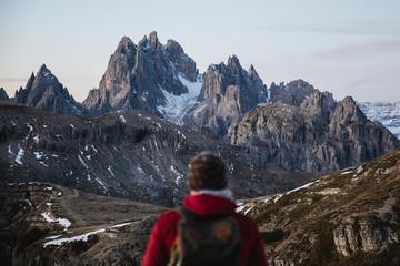 Dolomites peaks observed by hiker