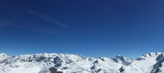 Beautiful mountain range in France. Perfect for skiing or snowboarding, a fun winter vacation of extreme sport