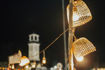 Bamboo basket lamp at night