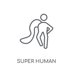 super human linear icon. Modern outline super human logo concept on white background from Feelings collection
