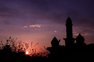Silhouette Sunset Mosque