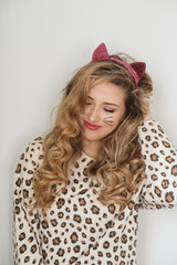 A teenage girl dressed as a cat for halloween