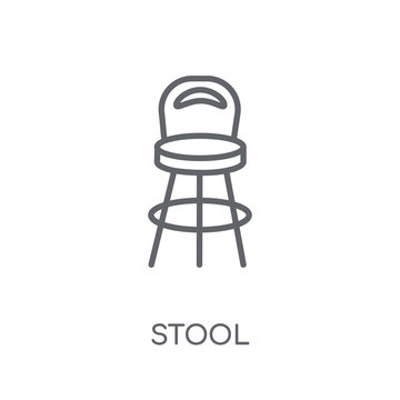 Stool linear icon. Modern outline Stool logo concept on white background from Furniture and Household collection