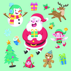 Flat cute style colorful christmas character and element on green background vector illustration