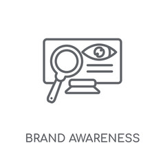 brand awareness linear icon. Modern outline brand awareness logo concept on white background from General collection