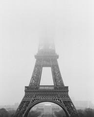 Eiffel Tower on foggy day