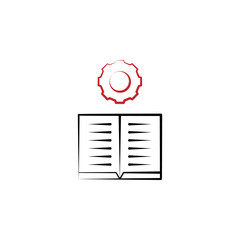 Motivation, book, gear, learning 2 colored line icon. Simple colored hand drawn element of illustration. book, gear, learning outline symbol design from motivation set