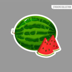 Cartoon fresh watermelon isolated sticker
