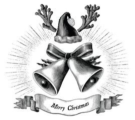 Antique engraving illustration of Christmas black and white clip art concept isolated on white background