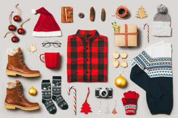 Christmas still life. Outfit and accessories for Christmas time.