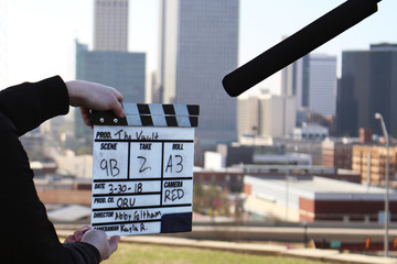 Film clapper board behind the scenes