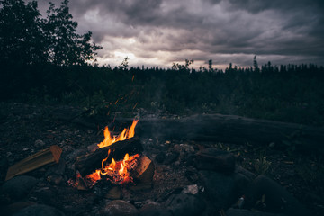 Campfire and Flames During Pretty Alaskan Sunset
