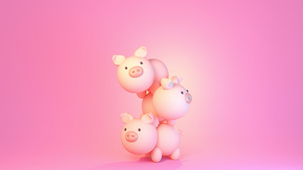3d rendering picture of cute pigs on pink background.