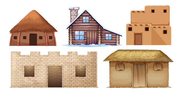 Set of different culture houses
