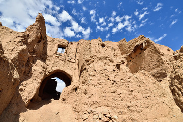 Ancient ruin Sassani Castle in the Garmeh oasis, on the Dasht-e Kavir deserts near the Khur city
