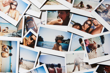 Polaroids with people having vacation