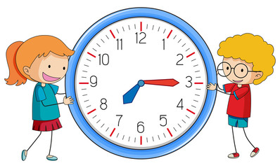 Doodle boy and girl with clock