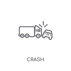 Crash linear icon. Modern outline Crash logo concept on white background from Insurance collection