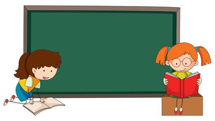 Doodle girls reading book on blackboard template