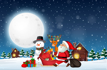 Canvas Prints Fairytale World Santa delivery gift at night