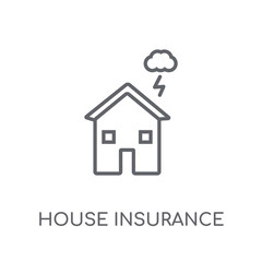 House insurance for storms linear icon. Modern outline House insurance for storms logo concept on white background from Insurance collection