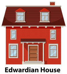 Edwardian house on white background