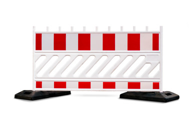 Road reconstruction red and white barrier sign isolated on white background. Road repair