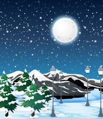 Winter outdoor night landscape