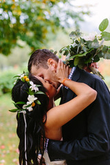 Couple Passionately Kissing in the Rain