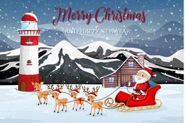 Santa riding sleigh in nature