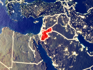 Jordan from space on Earth at night. Very fine detail of the plastic planet surface with bright city lights.
