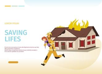 Vector Illustration Cartoon concept Firefighter