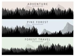 Vector Illustration Cartoon Silhouette Pine Forest