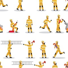 Vector image Pattern Groups Firefighter at Work